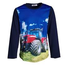 Jongens shirt marine lange mouwen met tractor rood/wit