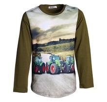 Jongens shirt donkergroen lange mouwen met tractor groen/rood
