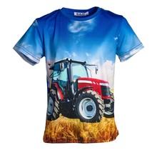Jongens shirt korte mouwen blauw met tractor rood/wit