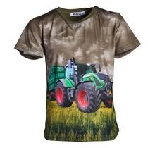 Jongens shirt korte mouwen donkergroen met tractor groen/rood