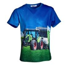 Jongens shirt korte mouwen blauw met tractor lichtgroen/rood