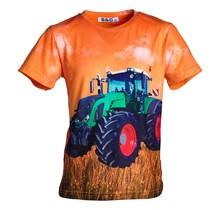 Jongens shirt korte mouwen oranje met tractor groen/rood