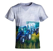 Jongens shirt korte mouwen grijs met tractor blauw/wit