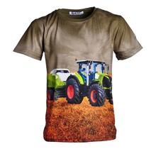 Jongens shirt korte mouwen donkergroen met tractor lichtgroen/rood