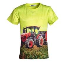 Jongens shirt korte mouwen lichtgroen met tractor rood
