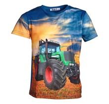 Jongens shirt korte mouwen blauw met tractor groen/rood