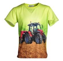 Jongens shirt korte mouwen lichtgroen met tractor rood/wit
