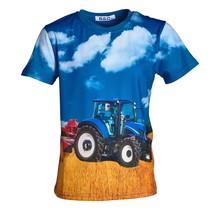 Jongens shirt korte mouwen blauw met tractor blauw/geel