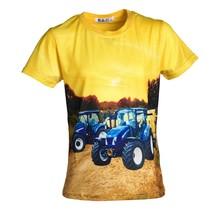 Jongens shirt korte mouwen geel met tractor blauw/wit