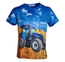 Jongens shirt korte mouwen blauw met tractor blauw/wit