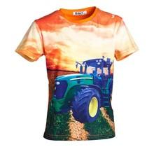 Jongens shirt korte mouwen oranje met tractor groen/geel