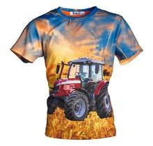 Jongens shirt korte mouwen oranje/blauw met tractor rood/wit