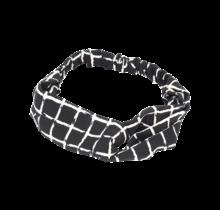Haarband zwart met witte ruit