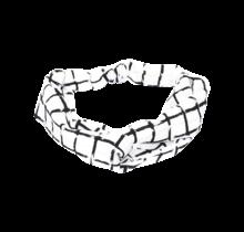 Haarband wit met zwarte ruit
