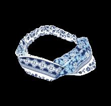 Haarband wit met blauwe print