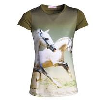 Meisjes shirt paarden groen
