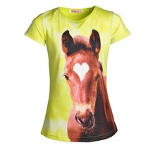 Meisjes shirt paarden geel