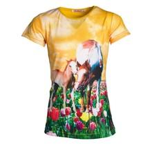 Meisjes shirt paarden oranje