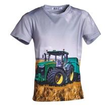 Jongens shirt korte mouwen grijs met tractor groen/geel