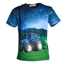 Jongens shirt korte mouwen marine met tractor blauw/geel