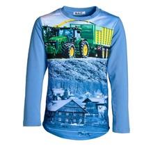 Jongens shirt lichtblauw lange mouwen met tractor groen/geel