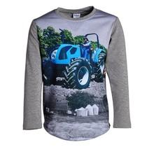 Jongens shirt grijs lange mouwen met tractor blauw