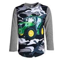 Jongens shirt lange mouwen grijs met tractor groen/geel