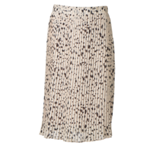 Dames plisse rok stippen creme kort