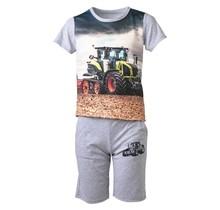 Jongens tractor set grijs kort