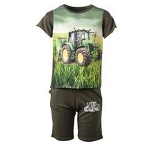 Jongens set donkergroen kort met tractor groen/geel
