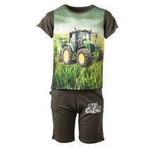 Jongens tractor set groen kort