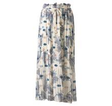 Dames plisse bloem touwtjes off white blauw lang
