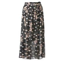 Dames plissé rok bloem touwtjes zwart lang