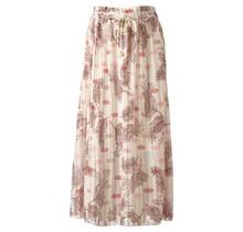 Dames plissé rok bloem touwtjes off white zalm lang