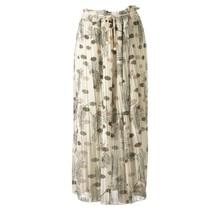 Dames plissé rok bloem touwtjes off white groen lang