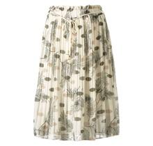 Dames plissé rok bloem touwtjes off white groen kort