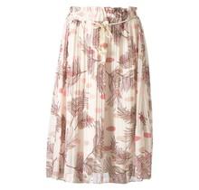 Dames plissé rok bloem touwtjes off white zalm kort