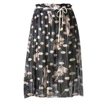 Dames plissé rok bloem touwtjes zwart kort