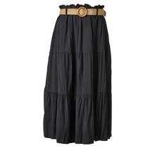 Dames rok zwart lang met riem