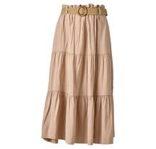 Dames rok beige lang met riem