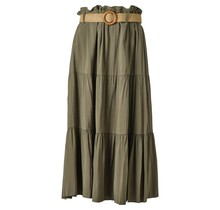 Dames rok groen lang met riem
