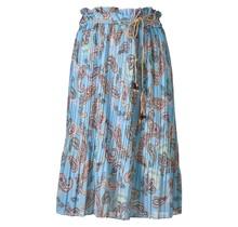 Dames plissé rok paisley touwtjes blauw kort