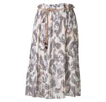 Dames plissé rok paisley touwtjes off white kort
