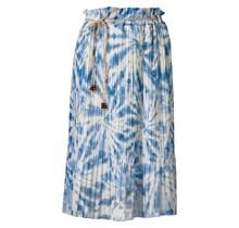 Dames plissé rok bladeren touwtjes blauw kort