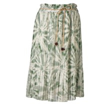Dames plissé rok bladeren touwtjes groen kort