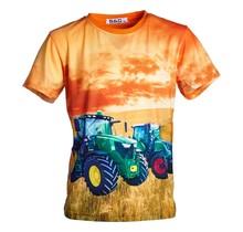 Jongens shirt korte mouwen oranje met tractor groen/geel en groen/rood