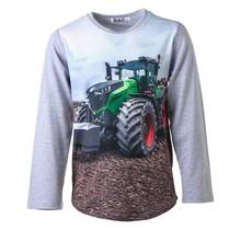 Jongens shirt grijs lange mouwen met tractor groen/rood