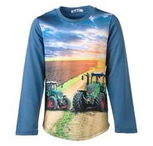 Jongens shirt blauw lange mouwen met tractor groen/rood