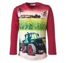 Jongens shirt rood lange mouwen met tractor groen/rood