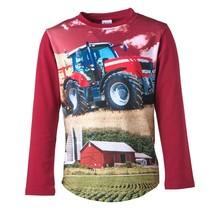 Jongens shirt rood lange mouwen met tractor rood/wit